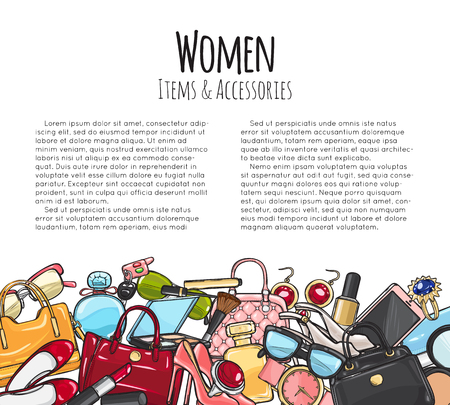 Women Items and Accessories. Colourful Objects