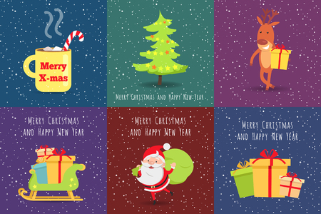 bagful: Merry Christmas and Happy New Year. Set of Icons Illustration