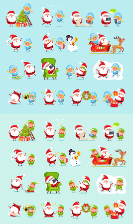 Santa and his helpers big set. Santa Claus, reindeer, snow maiden, ice princess, elf. Father Christmas daily activities stickers. Winter fun with Santa and his friends. Cartoon characters. Vector
