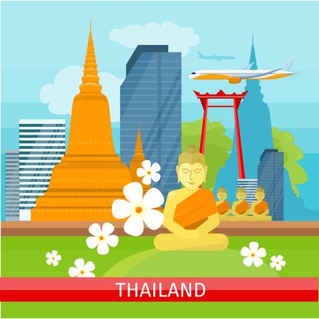 Thailand Travelling banner. Thai Landmarks.