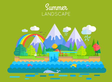 Summer Landscape Vector Concept In Flat Design.