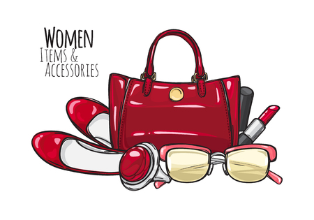 Women Items and Accessories. Red Female Objects Stock Photo