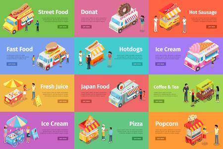 tiendas de comida: Street Food Stores Isometric Vector Banners