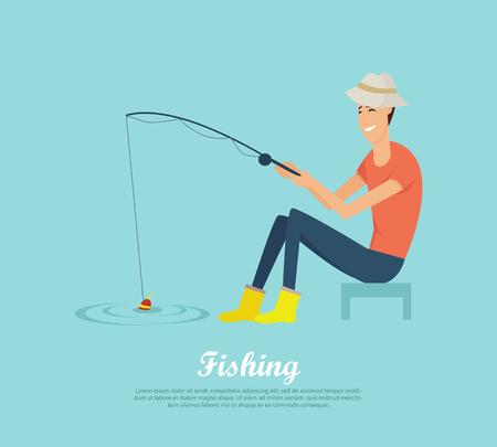 Fishing Conceptual Flat Design Vector Banner