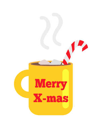 Merry Christmas Yellow Cup with Striped Straw