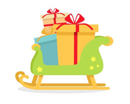 Kerstmis presenteert in Sledge op Geïsoleerd op Wit
