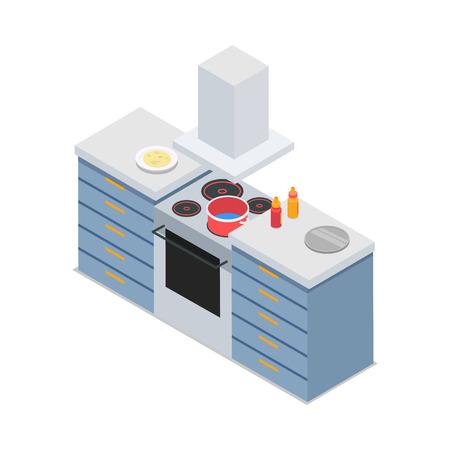 chest of drawers: Four-Burners Cooker Isolated At Restaurant Kitchen