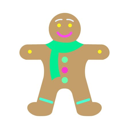 New Year Decorated Gingerbread in Shape of Man Illustration