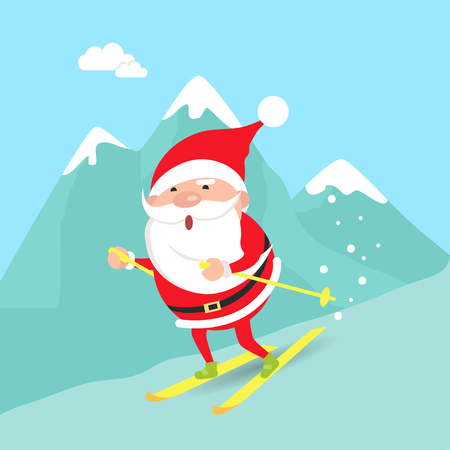 bobsled: Santa Claus Moving down from Mountains. Winter Illustration