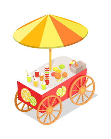 Fresh Citrus Juice Trolley in Isometric Projection