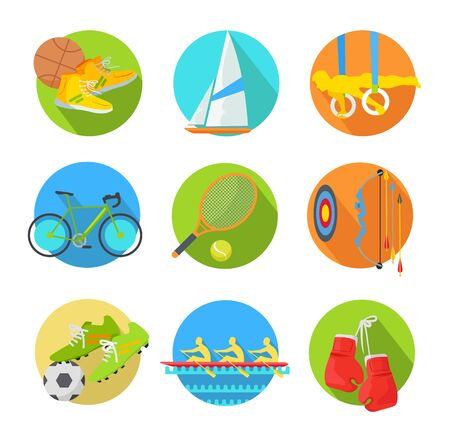 Sports Flat Vector Icons Collection Stock Photo