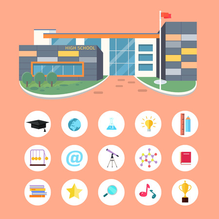 school: Set of School Icons. Building Book Devices. Vector Stock Photo
