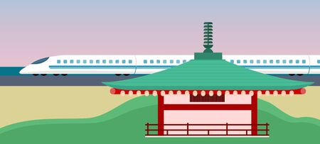 asia style: Eastern world or Asia Vector Concept in Flat Style