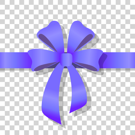 Blue Holiday Bow on Transparent Background Vector Stock Photo