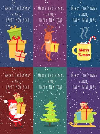 bagful: Merry Christmas and Happy New Year. Set of Banners