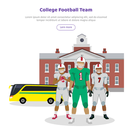 Colleage Football Team. High School on Background Stock Photo