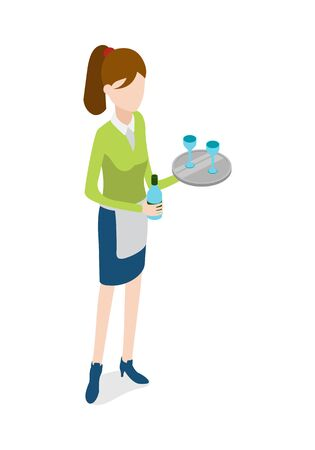 Restaurant. Waitress with Metal Tray and Bottle