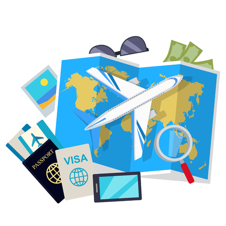 Travel Conceptual Flat Style Vector Web Banner