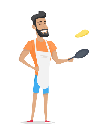 Smiling Man with Beard Cooking Zdjęcie Seryjne - 72581904