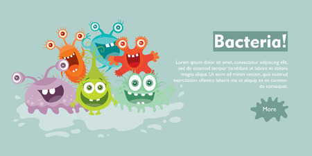 Bacteria Flat Cartoon Vector Web Banner Stock Photo