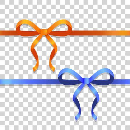 Abbildung von zwei Bändern mit Bögen. Orange und blaue schmale lange Linien mit hellen Bögen. Zwei Bobs mit zwei schmalen Blütenblättern, mit langen Schwänzen. Einfaches Karikaturdesign. Vorderansicht. Flacher Stil. Vektor Vektorgrafik