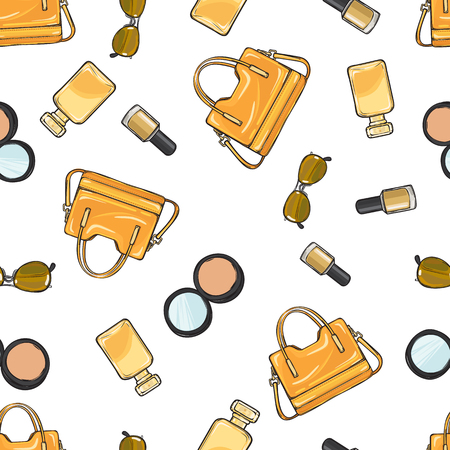 varnished: Collection of women accessories. Yellow varnished purse. Beige nail polish. Face powder with mirror in black round case. Sunglasses. Perfume. Seamless pattern. Endless texture. Fabric. Vector