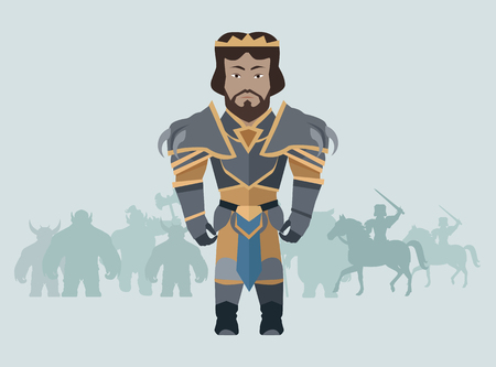 Game object of knight in steel medieval armor with crown. Character stand in front. Stylized fantasy characters. Game object in flat design on blue game background. Vector illustration. Illustration