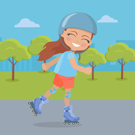Young girl in helmet roller skate in the park. Smiling skater. Female character with knee protection has fun. Sports equipment flat illustration. Summer fun and healthy life in flat style. Vector