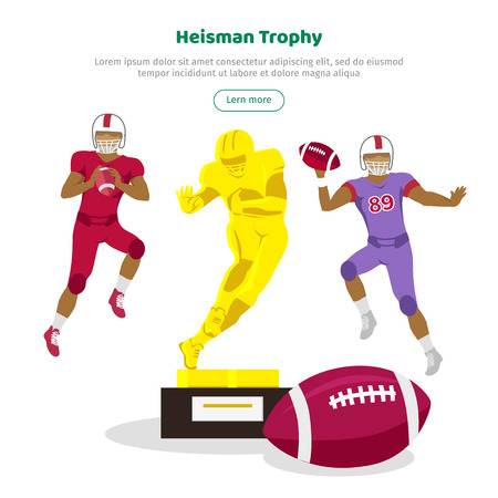 recompense: Heisman trophy and american football players web banner. Heisman Memorial Trophy awarded annually to most outstanding player in college football in US whose performance best exhibits. Vector