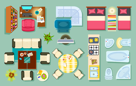 Flat interior top view. Living room, bathroom, bedroom. kitchen, office room. Modern furniture in isometric style. Pieces of furniture and household utensils. Cosy house design. Vector illustration Çizim