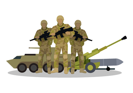 ballistic: Different types of armed forces. Soldiers in ammunition with guns, APC, cannon, ballistic missile flat vector illustrations isolated on white. For warfare concepts, military service contract ad