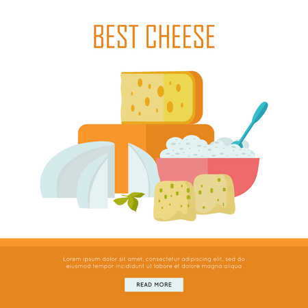Best cheese banner. Different varieties of cheese pieces on white background. Natural farm food. Dairy product. Retail store poster. Vector illustration in flat style. Dairy website template.
