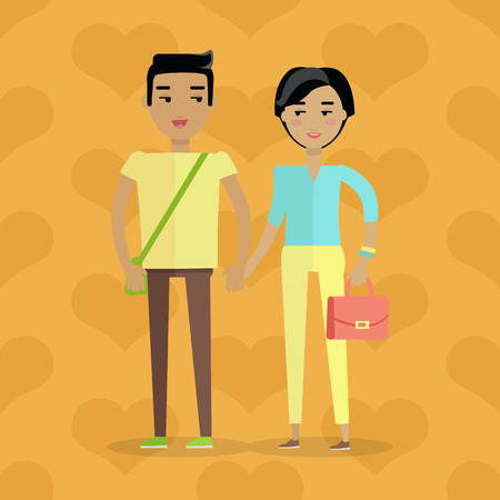 European man and woman. Caucasian handsome gentleman and lady in casual clothes. Happy family couple in love. Part of series of people of the world. Vector design illustration in flat style