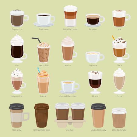 Ensemble de types de café et de paquets. Illustration vectorielle du menu café. Préparation des boissons. Collection de lunettes avec cappuccino, latte, espresso, americano, mocha, frappuccino. À emporter. Vecteur
