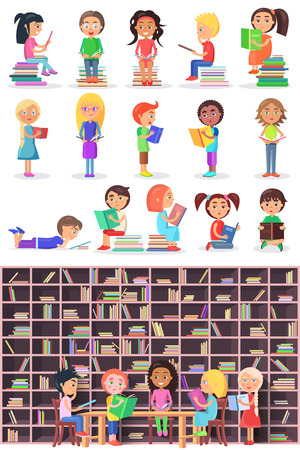 reads: Boys and girls with books. Isolated children and infants in library vector set. Kids study in atheneum. Clever young people read books. School Children education. Public room with bookshelves. Vector