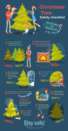 Christmas tree safety cheklist. Merry Christmas and happy New Year. Instructions how to deel with xmas tree. Practical guide to safety. Check again any damages that may have occur. Vector illustration Çizim
