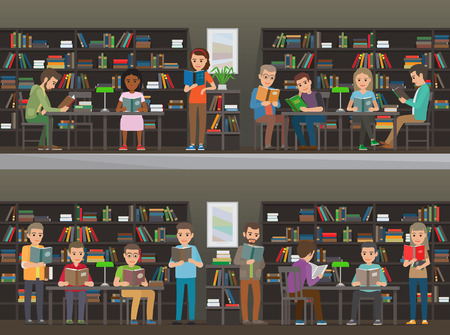 self study: People study in atheneum set. Students read in the library vector illustration. Clever men and women read books. Grown ups self education. Public room with bookshelves. Shelves and tables. Wisdom