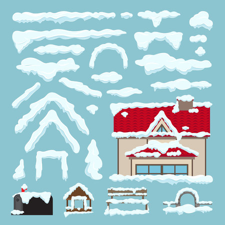 icy: Set of Isolated snow cap. Winter house decoration. Snowy elements on blue background. Editable ice snowflake snowy decoration elements in cartoon style for design. Frozen effect. Vector illustration
