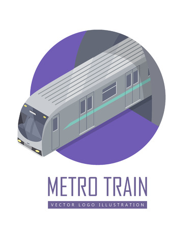 high speed train: Speed train isometric projection icon. Modern locomotive with wagon leaving tunnel vector illustration isolated on white background. For game environment, transport infographics, logo, web design Illustration