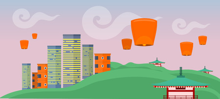 Asian landscape with modern and ancient buildings. Skyscrapers and private houses. Nature and architecture. Chinese pagoda. Sky lanterns. Part of series of travelling around the world. Vector