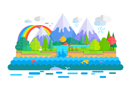 Wild nature landscape vector. Flat style. Illustration with snow-capped peaks, animals, forest, waterfall, rainbow, sea. Banner for summer vacation, ecological, concepts and web page design Illustration