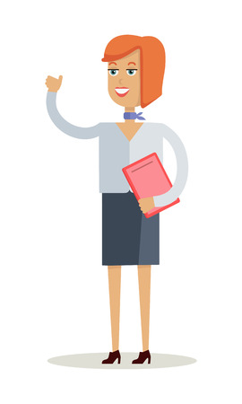 happy business woman: Cheerful young lady waving her hand. Happy business woman with orange hair and in business suit stands with red folder. Isolated smiling young personage. Flat design vector illustration