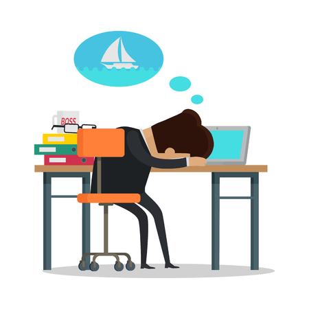 眠りと夢についてのヨットの黒のビジネス スーツの青年実業家。夏休みは海の概念で。オフィスでのビジネス人。フラットなデザインのベクトル図  イラスト・ベクター素材
