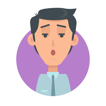 Man face emotive icon. Surprised brunet male character with open mouth and raised eyebrows flat vector isolated on white. Confused human psychological portrait. Emotions concept. For app, web design