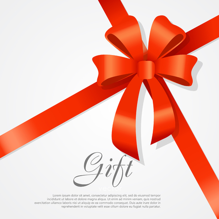 Gift. Red Wide Ribbon. Bright Bow with Two Petals