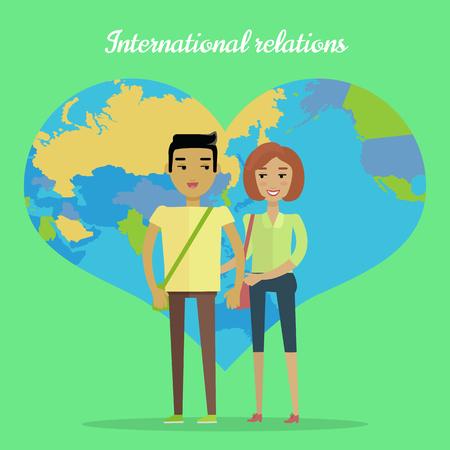 asian man smiling: International Relations Flat Design Vector Concept