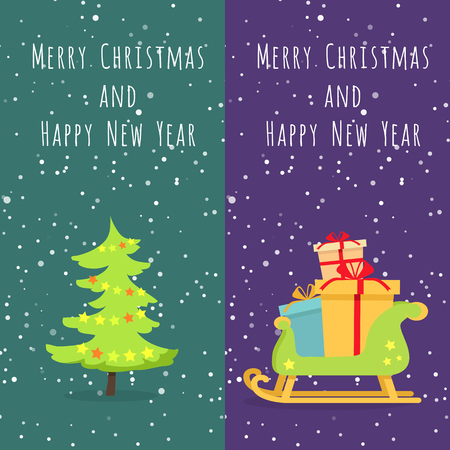 adorned: Merry Christmas and Happy New Year. Set of two icons. Illustration of isolated xmas tree. Evergreen tree decorated with toys. Wooden sleigh with many boxes of presents. Cartoon design. Vector