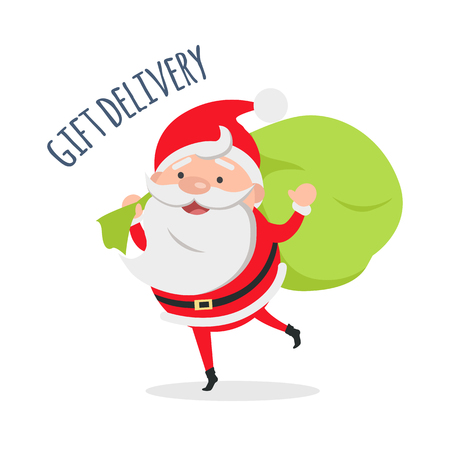 Santa Claus Delivers Gifts to Children. Vector Illustration