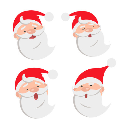 Collection of four Santa Claus face expressions. Different emotions on male faces. White beard. Red hat with white round bow. Types of feelings on countenance. Cartoon style. Flat design. Vector Illustration