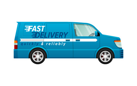Transport. Icon of Isolated Blue Delivery Minivan